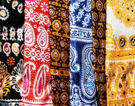 Female kerchiefs with traditional ornament  Turkmenistan  Ashkhabad market  Stock Photo