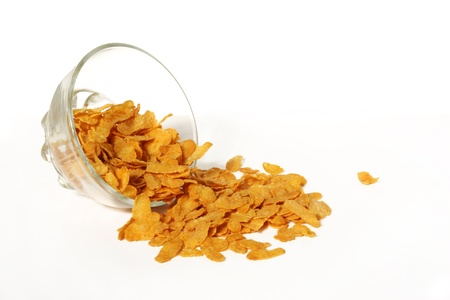 Cornflakes in einer Glasschüssel Standard-Bild
