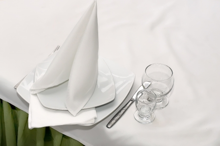 Napkin and 2 glasses on the table photo