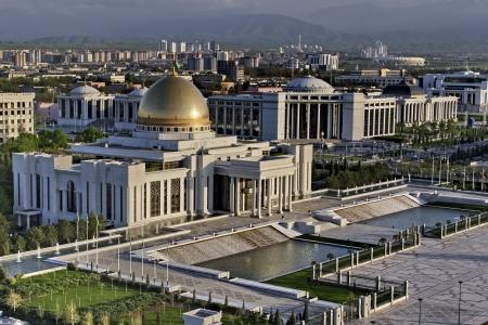 アシハバード トルクメニスタン大統領宮殿への一般的なビュー 写真素材