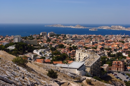 Cityscape View of Marseille on the background of the sea photo