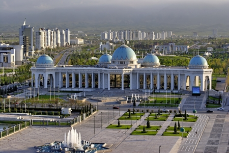 General Views to the main square and palace Ruhyet  Ashkhabad  Turkmenistan  에디토리얼