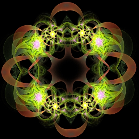 Fractal wreath in green, pink and brown photo