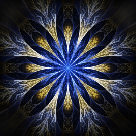 Beautiful fractal flower in blue. Computer generated graphics.