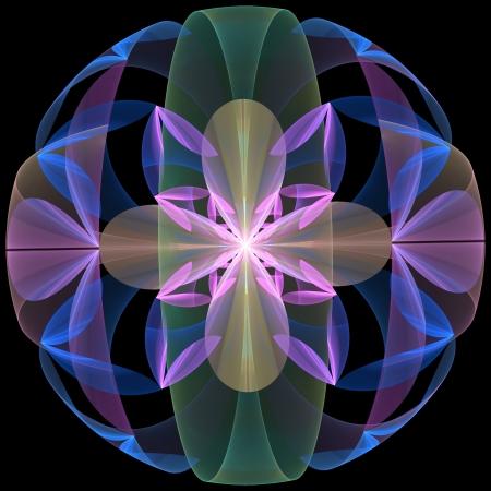 Mysterious Flower Sphere. Computer generated graphics.   Standard-Bild