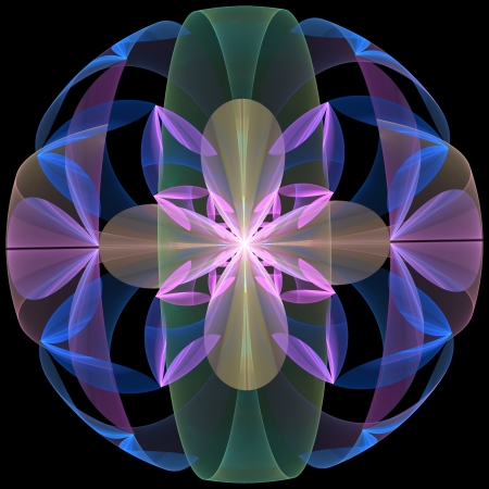 Mysterious Flower Sphere. Computer generated graphics.   Stock Photo
