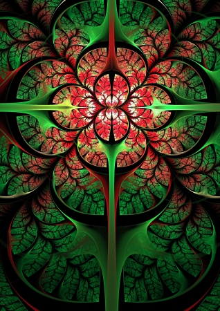 Elegance fractal flower in red  Computer generated graphics