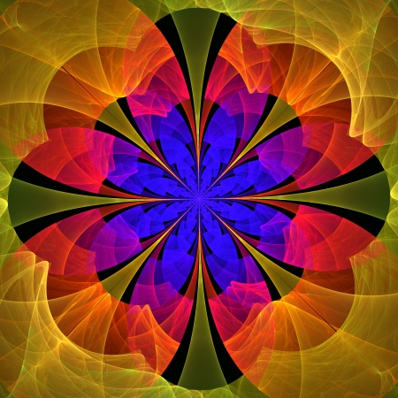 Beautiful fractal flower in blue, red and yellow. Computer generated graphics.