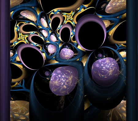 Abstract fractal pattern in purple, blue and brown  Computer generated graphics   photo