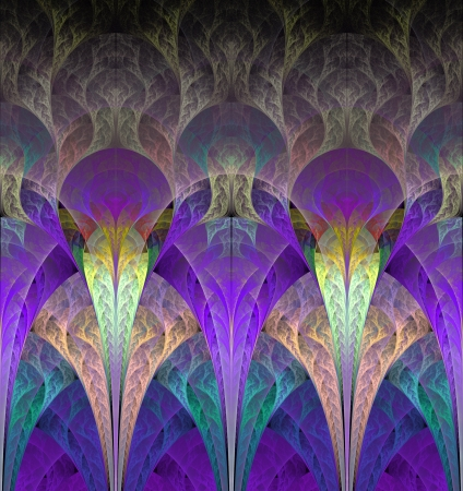 fractals: Fantastic flowers in purple  Computer generated graphics