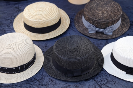 boater: Vintage straw boater hats  Stock Photo