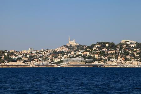 Ansicht der Marseille aus dem Meer Lizenzfreie Bilder