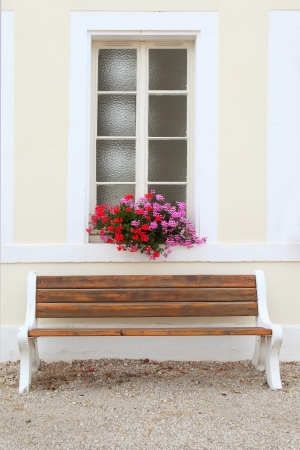Window decorated with flower, Burgundy, France Stock Photo