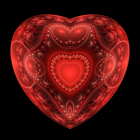 Red heart fractal on black background. Computer generated graphics. Stock Photo - 17604129