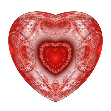 Red heart fractal on white background. Computer generated graphics. Stock Photo - 17604130
