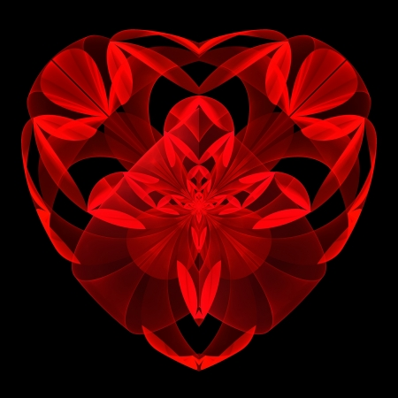 Flower red heart fractal on black background. Computer generated graphics. Stock Photo - 17604122