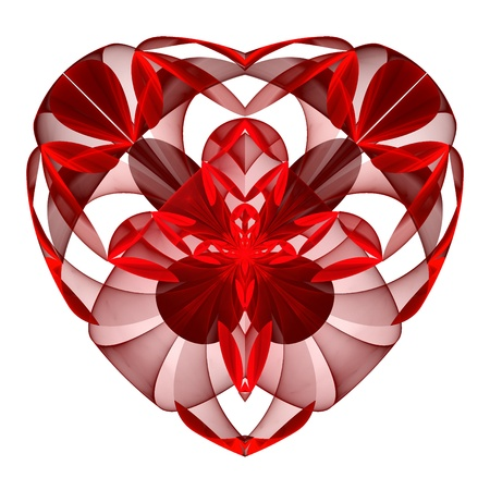 Flower red heart fractal on white background. Computer generated graphics.