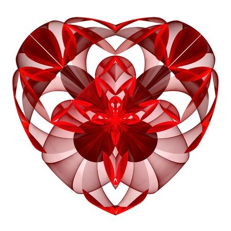 Flower red Herzen Fraktal auf weißem Hintergrund. Computer generierte Grafiken.