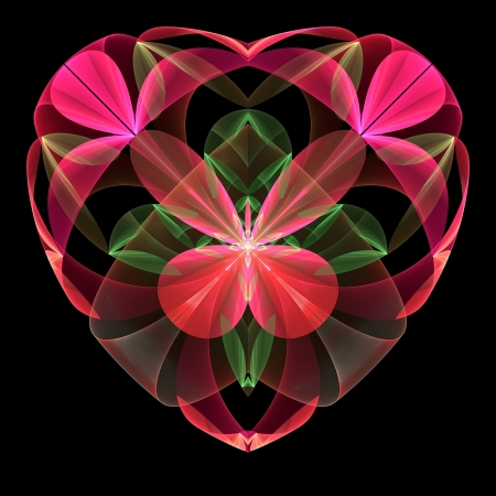 Flower heart fractal on black background. Computer generated graphics. Stock Photo - 17604123