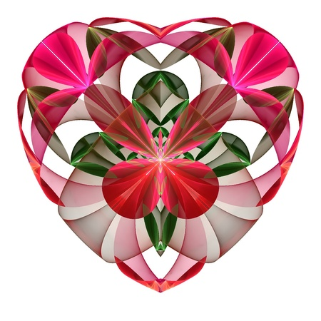 Flower heart fractal on white background. Computer generated graphics. photo