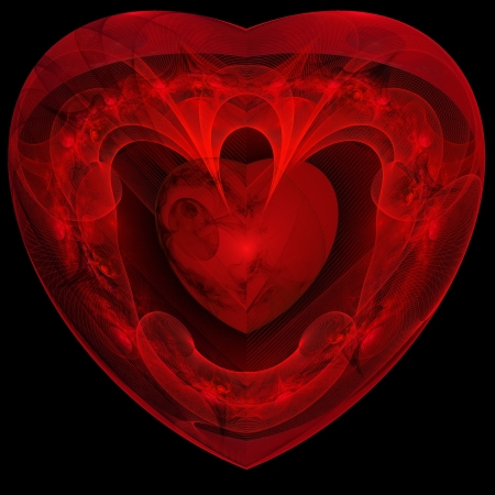 Red heart fractal on black background. Computer generated graphics. Stock Photo - 17604133