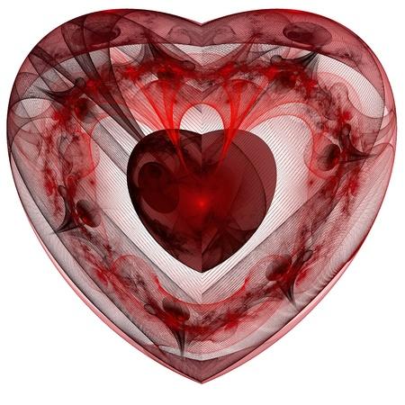 Red Herzen Fraktals auf weißem Hintergrund. Computer generierte Grafiken. Standard-Bild