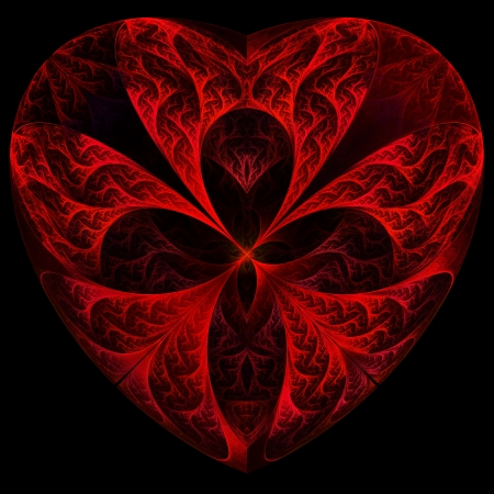Red heart fractal on black background. Computer generated graphics. Stock Photo - 17604132