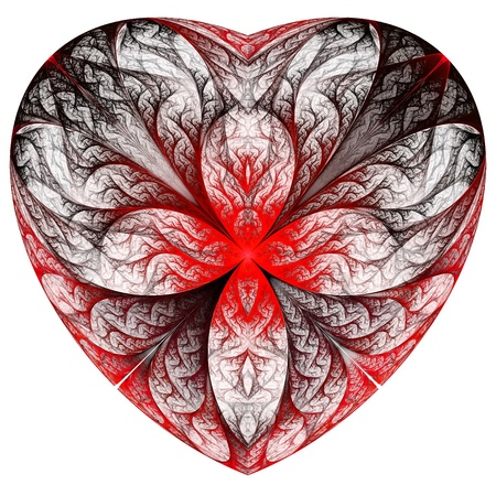 Red heart fractal on white background. Computer generated graphics. Stock Photo - 17604134