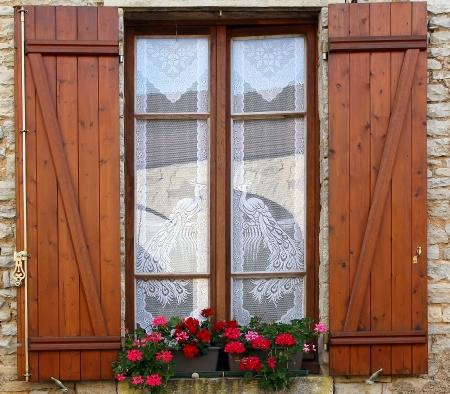 Window box flower arrangement, Burgundy, France photo