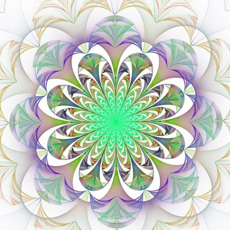 グレー、グリーン、パープルの美しい抽象花 写真素材