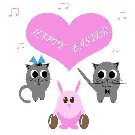 Funny pink rabbit with easter eggs and two cats photo