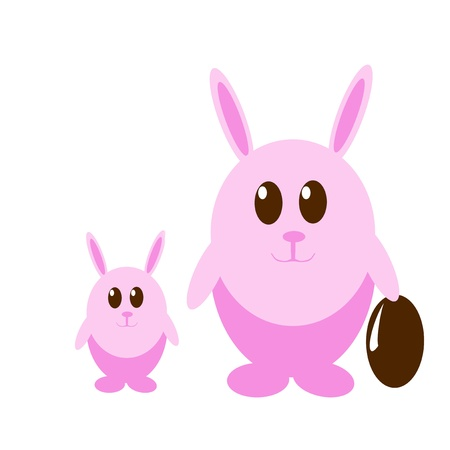 Funny pink rabbit with easter eggs photo