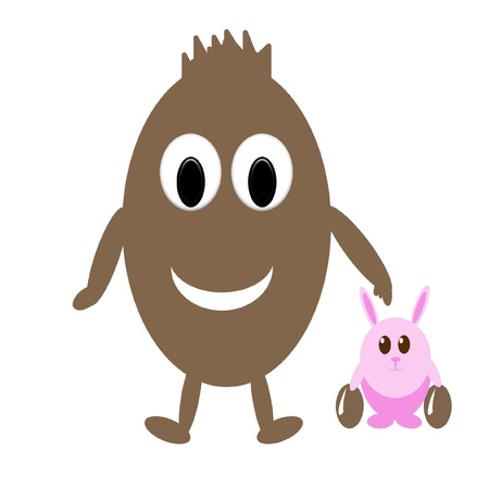 Smiling chocolate egg and funny pink rabbit with easter eggs photo