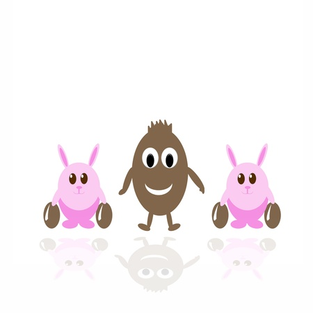 Smiling chocolate egg and two funny pink rabbits with easter eggs photo