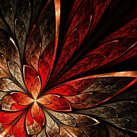 art deco: Beautiful fractal flower in yellow and red. Computer generated graphics. Stock Photo