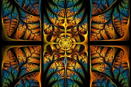 triptych: Fabulous fractal pattern  Collection - tree foliage  Computer generated graphics  Stock Photo