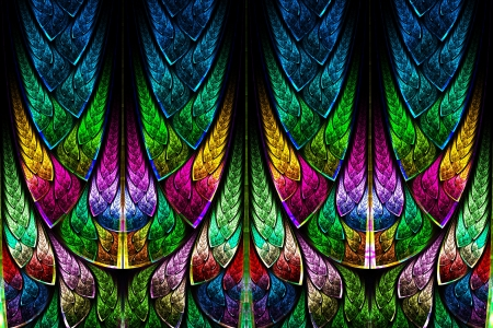 stained: Fractal pattern in stained glass style  Computer generated graphics  Stock Photo