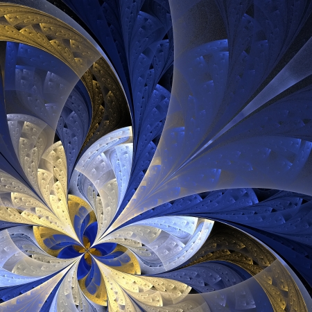 Beautiful fractal flower in blue and yellow  Computer generated graphics  photo