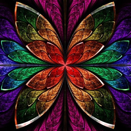 window plant: Beautiful fractal flower in blue, green and red. Computer generated graphics.