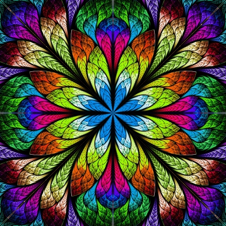 kaleidoscope: Multicolor beautiful fractal flower  Computer generated graphics
