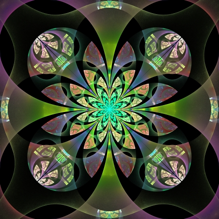 Beautiful abstract flower in gray, green and purple. photo