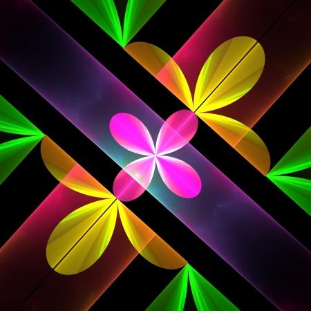 Blütenblatt Muster in gelb und rosa. Computer generierte Grafiken. Lizenzfreie Bilder