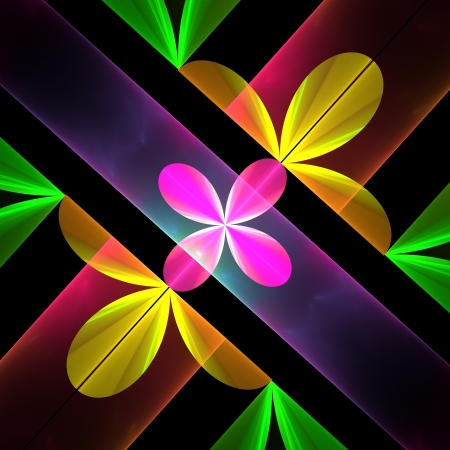Petal pattern in yellow and pink. Computer generated graphics.