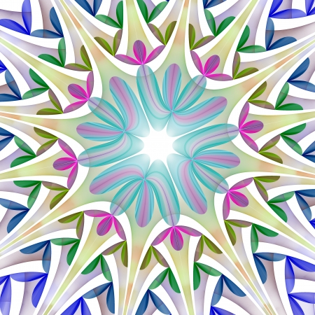 Beautiful fractal flower in blue, green and purple. photo