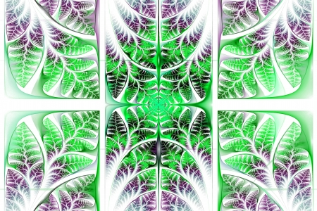 triptych: Fabulous fractal pattern. Collection - tree foliage. Computer generated graphics. Stock Photo
