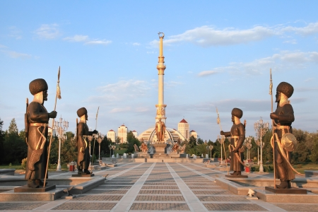 Monumen Arch of Independence in sunset  Ashkhabad  Turkmenistan