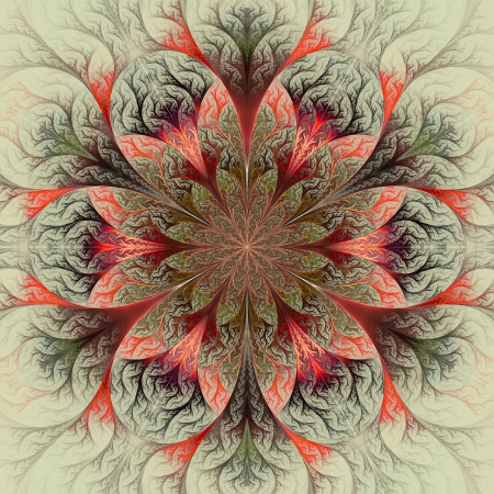 feelers: Beautiful fractal flower in red, green and gray. Computer generated graphics. Stock Photo