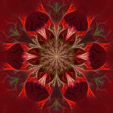 feelers: Beautiful fractal flower in purple, claret and red. Computer generated graphics. Stock Photo