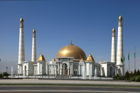 Mosque in native village of first president of Turkmenistan Niyazov  Hi was brought here  Turkmenistan