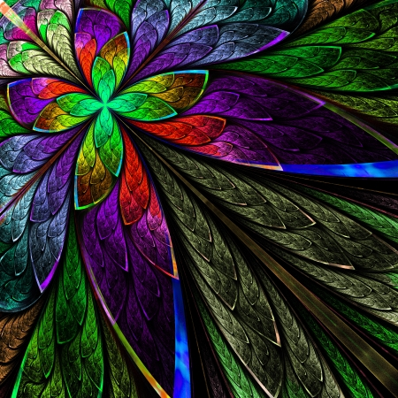 Multicolor fractal flower on black background  Computer generated graphics  photo